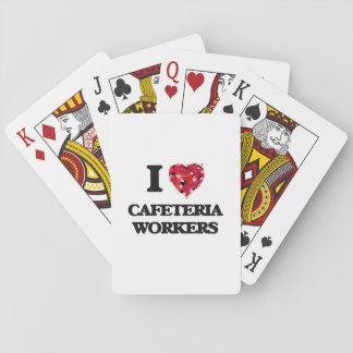 Amo a trabajadores de la cafetería cartas de juego