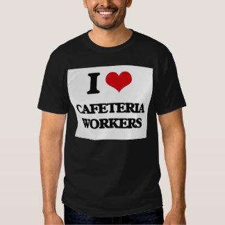 Amo a trabajadores de la cafetería playeras