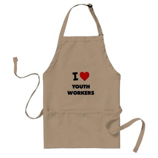 Amo a trabajadores de la juventud delantal