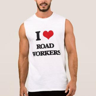 Amo a trabajadores del camino playera sin mangas