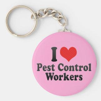 Amo a trabajadores del control de parásito llavero personalizado