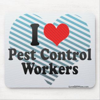 Amo a trabajadores del control de parásito mouse pads