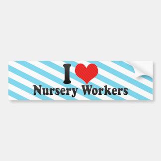 Amo a trabajadores del cuarto de niños pegatina de parachoque