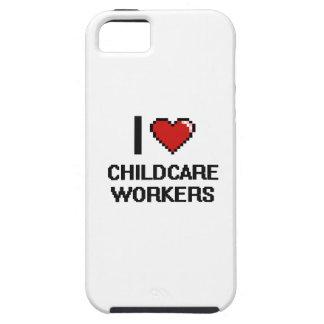 Amo a trabajadores del cuidado de niños funda para iPhone 5 tough