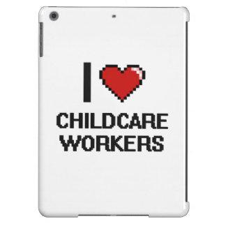Amo a trabajadores del cuidado de niños funda para iPad air