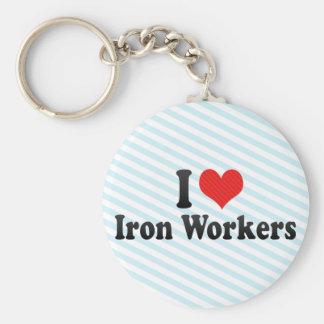 Amo a trabajadores del hierro llavero personalizado