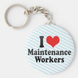 Amo a trabajadores del mantenimiento llavero personalizado