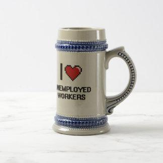 Amo a trabajadores parados jarra de cerveza