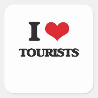 Amo a turistas pegatina cuadrada