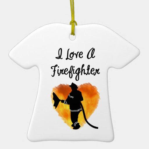 Amo a un bombero adorno navideño de cerámica en forma de playera
