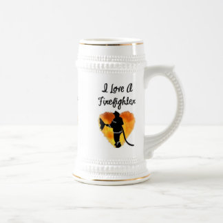 Amo a un bombero jarra de cerveza