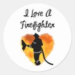Amo a un bombero pegatinas