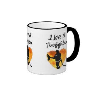 Amo a un bombero taza de dos colores