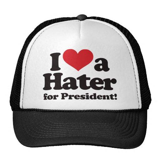 Amo a un enemigo para el presidente gorros