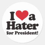 Amo a un enemigo para el presidente pegatina redonda