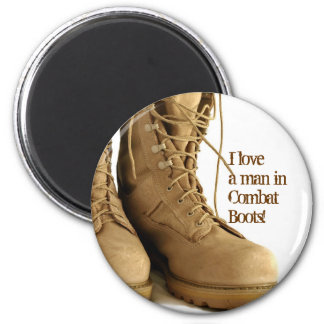 ¡Amo a un hombre en botas de combate! Imán Redondo 5 Cm