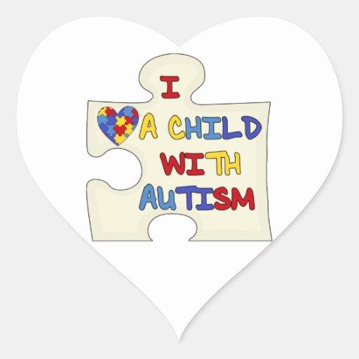 Amo a un niño con autismo pegatina corazón personalizadas