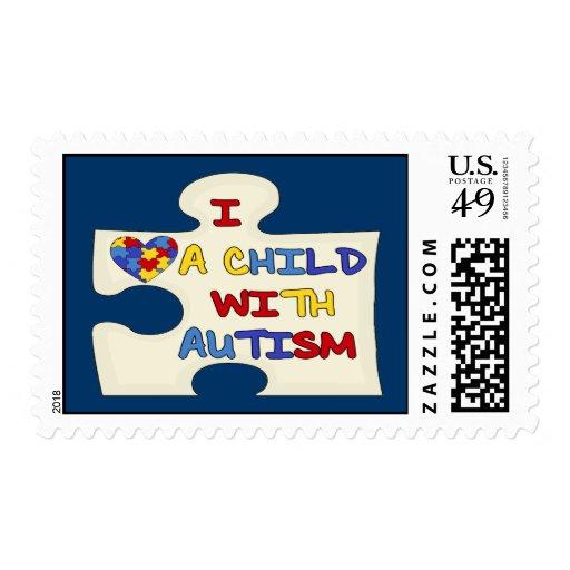 Amo a un niño con autismo sello