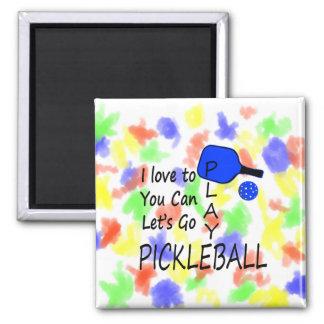 amo a usted puedo dejo para ir azul del pickleball imán cuadrado