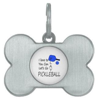 amo a usted puedo dejo para ir azul del pickleball placas de nombre de mascota