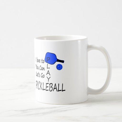 amo a usted puedo dejo para ir azul del pickleball tazas