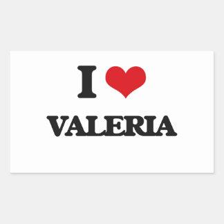 Amo a Valeria Pegatina Rectangular