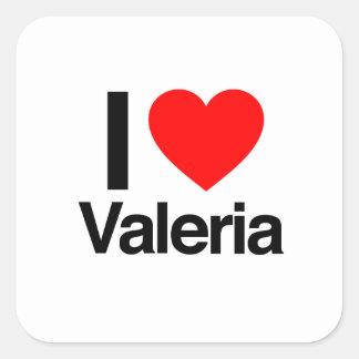 amo a Valeria Calcomanía Cuadradas