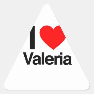 amo a Valeria Calcomanía Triangulo