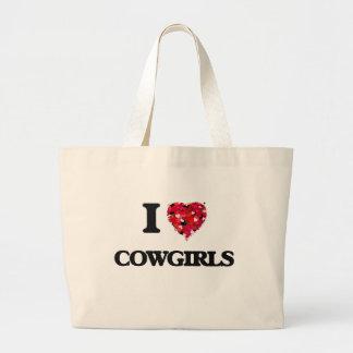Amo a vaqueras bolsa tela grande