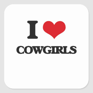Amo a vaqueras calcomanía cuadradas personalizadas