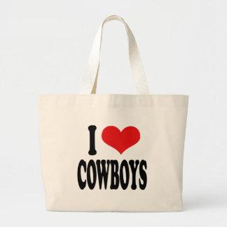 Amo a vaqueros bolsa tela grande