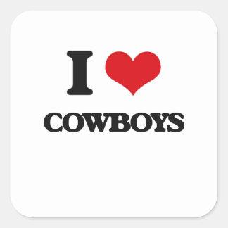 Amo a vaqueros calcomanía cuadradas