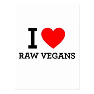 Amo a veganos crudos postales