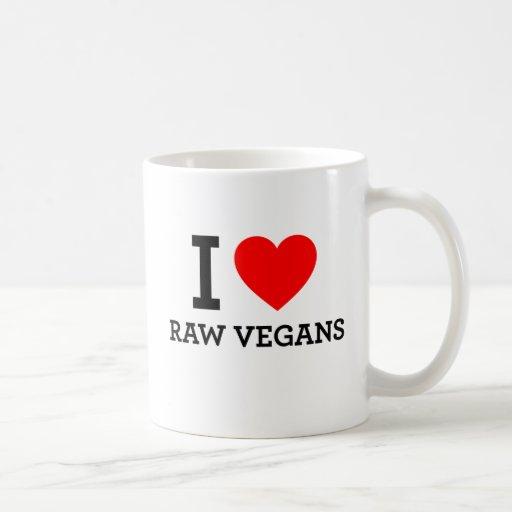 Amo a veganos crudos taza de café