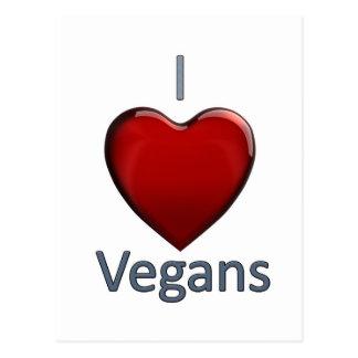 Amo a veganos tarjetas postales