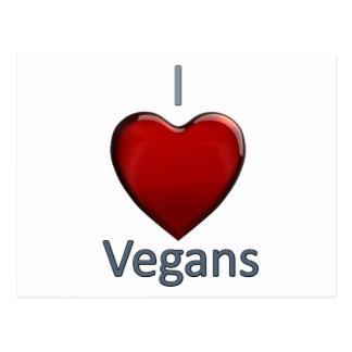 Amo a veganos tarjeta postal