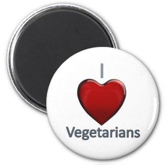 Amo a vegetarianos imán redondo 5 cm