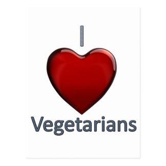 Amo a vegetarianos tarjeta postal