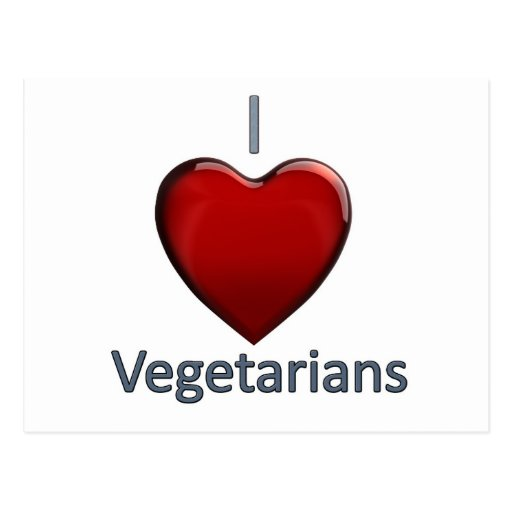 Amo a vegetarianos tarjetas postales