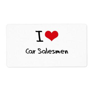 Amo a vendedores de coches etiqueta de envío