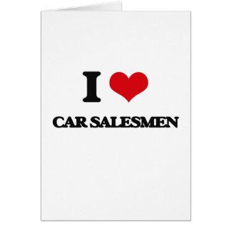 Amo a vendedores de coches tarjeta de felicitación