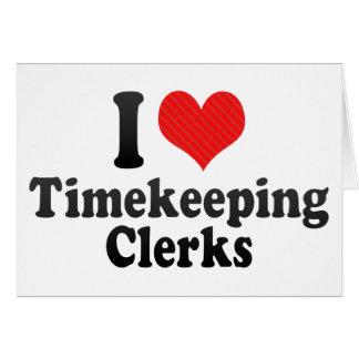 Amo a vendedores del Timekeeping Felicitaciones