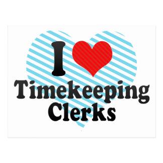 Amo a vendedores del Timekeeping Tarjetas Postales