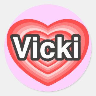 Amo a Vicki. Te amo Vicki. Corazón Pegatina Redonda