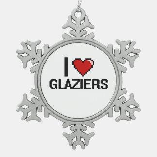 Amo a vidrieros adorno de peltre en forma de copo de nieve