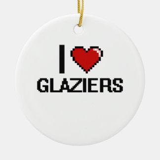 Amo a vidrieros adorno redondo de cerámica