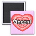 Amo a Vincent. Te amo Vincent. Corazón Imán De Frigorífico