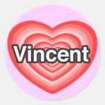 Amo a Vincent. Te amo Vincent. Corazón Pegatina Redonda
