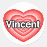 Amo a Vincent. Te amo Vincent. Corazón Pegatinas Redondas