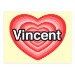 Amo a Vincent. Te amo Vincent. Corazón Postales